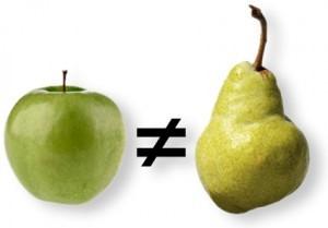 Vergelijk appels met peren